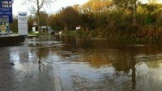Porthleven Road in Helston during flooding in November