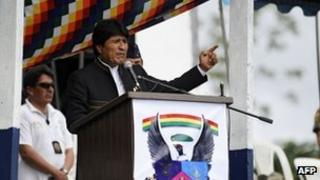 President Evo Morales speaks at a ceremony on 19 December 2012