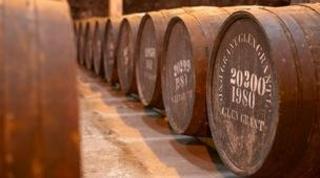 Barrels of malt whisky at the Glen Grant distillery in Speyside