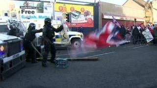 Police came under attack on Albertbridge Road in east Belfast on Saturday afternoon