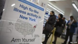 People line up behind a sign advising people against the flu outbreak at a pharmacy in New York 10 January 2013
