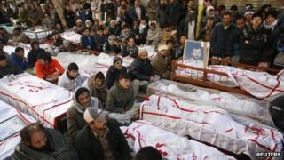 Shia vigil by coffins