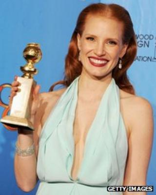 Zero Dark Thirty star Jessica Chastain with her Golden Globe