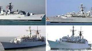 Clockwise from top left - HMS Cumberland, HMS Campbeltown, HMS Chatham and HMS Cornwall
