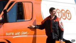 TNT Post van and worker