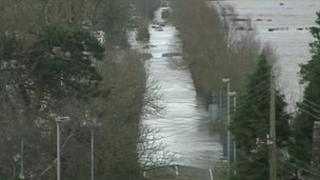 Flooded A361 road