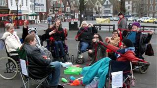 Knitting Protestors in Salisbury Market Place
