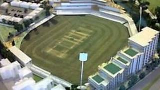 A model showing how the Essex county ground will look after the development