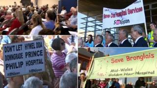 A montage of protests held previously in mid and south Wales about Hwyel Dda's shake-up plans