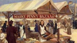 Image of the original Marks' Penny Bazaar at Leeds Market in 1884