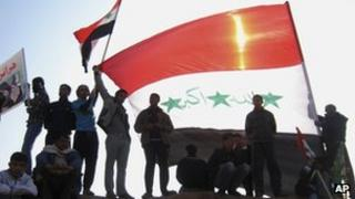 Sunni demonstrators in Fallujah on 4 Jan 2013