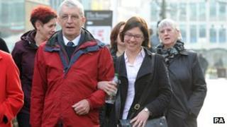 Michael Brewer with Hilary (far right) arriving at Manchester Crown Court