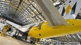 Aircraft maintenance hangar at Luton airport