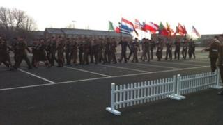 The Allied Rapid Reaction Corps parades at Imjin Barracks