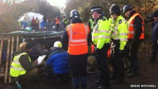 Bailiffs, police and protesters at the anti-road camp in Combe Haven Valley