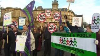 Protests at Bournemouth Town Hall
