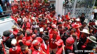 Red shirts storm parliament in Bangkok, April 2010
