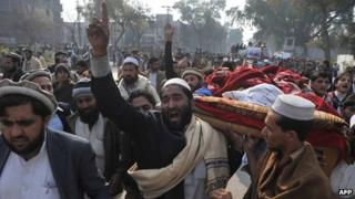Protesters in Peshawar