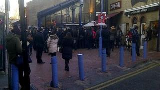 Queues this morning outside Chelmsford train station