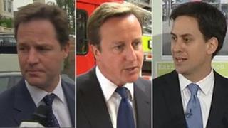 Nick Clegg, David Cameron ac Ed Miliband