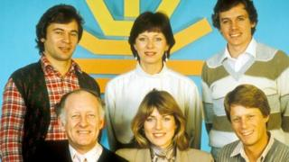 Breakfast Time presenters (top, l-r) Francis Wilson, Debbie Rix, David Icke, (bottom, l-r) Frank Bough, Selina Scott and Nick Ross, 1983