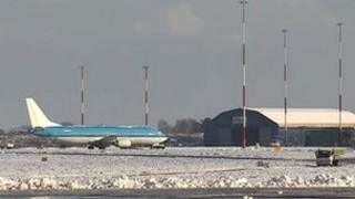 Norwich Airport in the snow