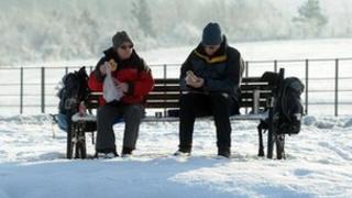 Snow in Herrington Country park near Sunderland