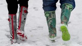 People in trendy water-boots