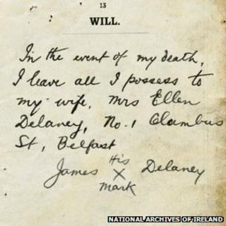 James Delaney from Belfast marked his will with an X