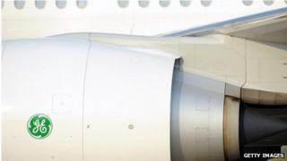 General Electric logo on the side of a plane jet engine
