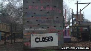 Climbing wall closed