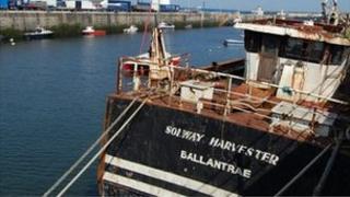 Wreck of the Solway Harvester in Douglas harbour