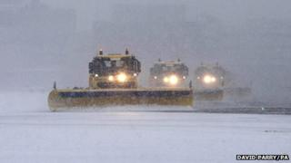 Snow ploughs at Gatwick Airport in West Sussex
