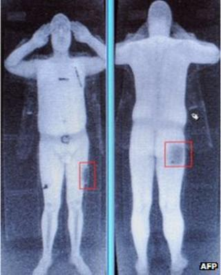 A full-body scan seen on a computer screen in Manchester Airport, October 2009