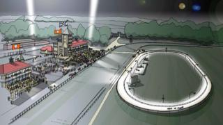 Artist's impression of Towcester greyhound track