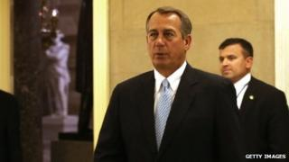 House Speaker John Boehner returns to his office after a vote 15 January 2013