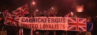 There was a protest in Carrickfergus