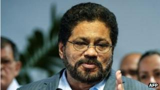 Farc negotiator Ivan Marquez announces the end of a two-month unilateral ceasefire upon arrival at the Convention Palace in Havana for peace talks with the Colombian government.