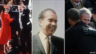 Nancy and Ronald Reagan; Richard Nixon; after taking the oath of office. Obama is embraced by George W Bush