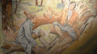 Richard Brown and Robert Burns in Eglinton Wood - a mural in the Irvine Burns Club