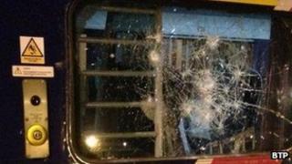 Window on train smashed