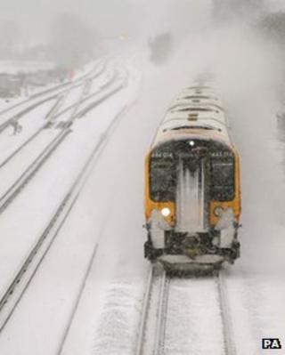 South West Train makes it way through snow in Basington