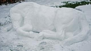 Life-size snow pony