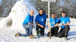 L-R: Craig Parker, Mark Baranovsky, Carl Baranovsky and Greg Davies outside igloo