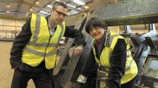 Blackrock Manufacturing Ltd's managing director, Conor Monaghan, with Arlene Foster
