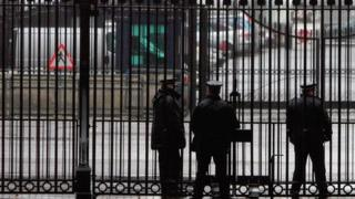 Police at the gates of Downing Street
