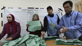 Jordanian officials count ballot papers