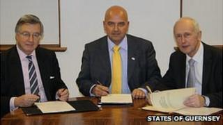 Jersey's Assistant Chief Minister Sir Philip Bailhache, Guernsey's Deputy Chief Minister Jonathan Le Tocq and Isle of Man Treasury Minister Eddie Teare