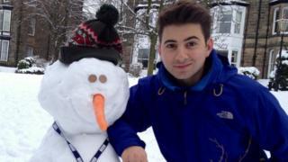 Ricky Boleto and his snowman.