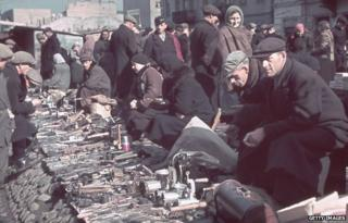 Street market in Warsaw ghetto
